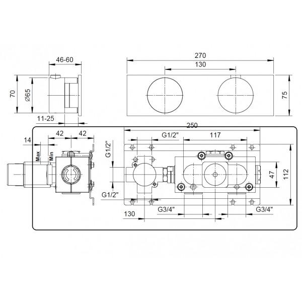Fantini Встраиваемая часть смесителя для ванны/душа с дивертером на 3 выхода, хром 17 02 B187A