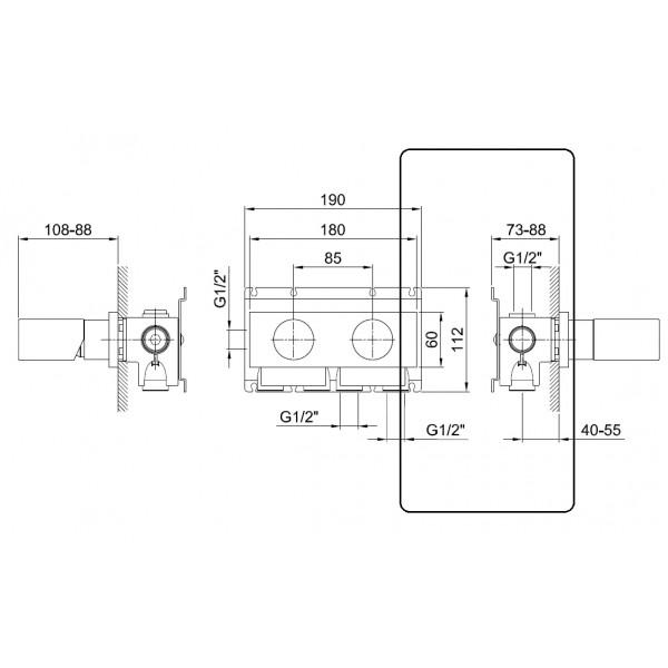Fantini Встраиваемая часть смесителя для ванны/душа с дивертером на 2 выхода, хром 17 02 B185A