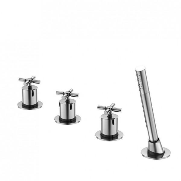 Steinberg Серия 250 Смеситель для ванны на 4 отверстия для применения со сливным-переливным-заливным гарнитуром, с 90° керамическими вентилями, с переключателем и выдвижным ручным душем, хром 250 2480