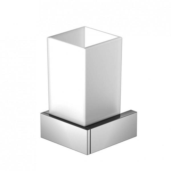 Steinberg Серия 460 Стаканчик с с держателем 70 х 70 х 120мм, из латуни, белое сатин. стекло, хром 460 2001
