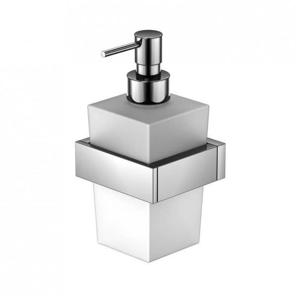 Steinberg Серия 460 Держатель с дозатором для жидкого мыла, белое сатин. стекло, хром 460 8001