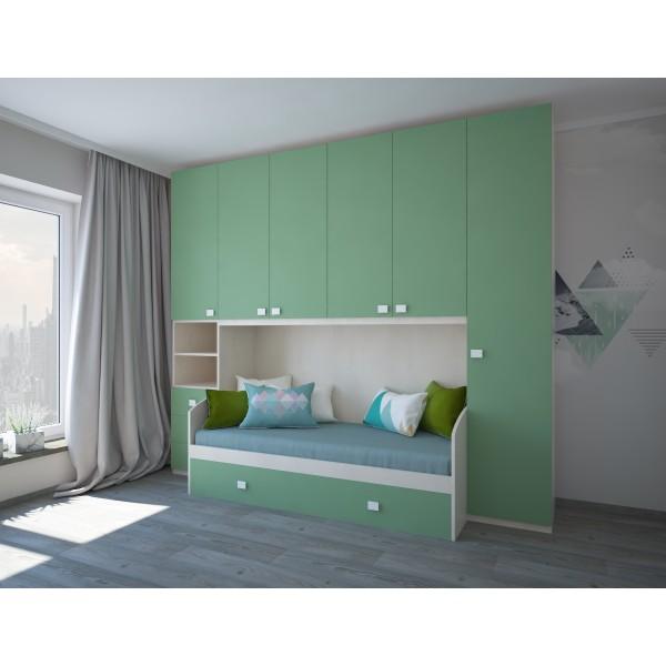 Комплект мебели для детской STURM Winnie 3000х920/580х2590 вяз-шалфей XWINNI30025