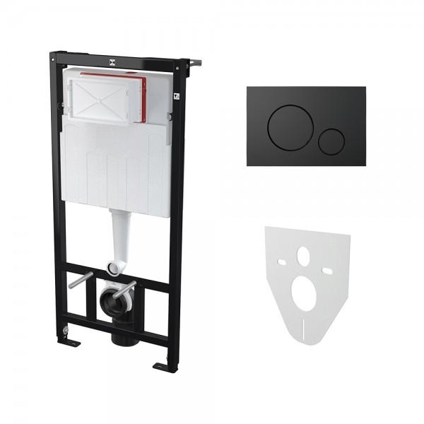 Комплект: Инсталляция для подвесного унитаза STURM AM с панелью смыва (круглые клавиши) и креплениями к стене и для унитаза, чёрная матовая AM-KIT-ROUND-BM