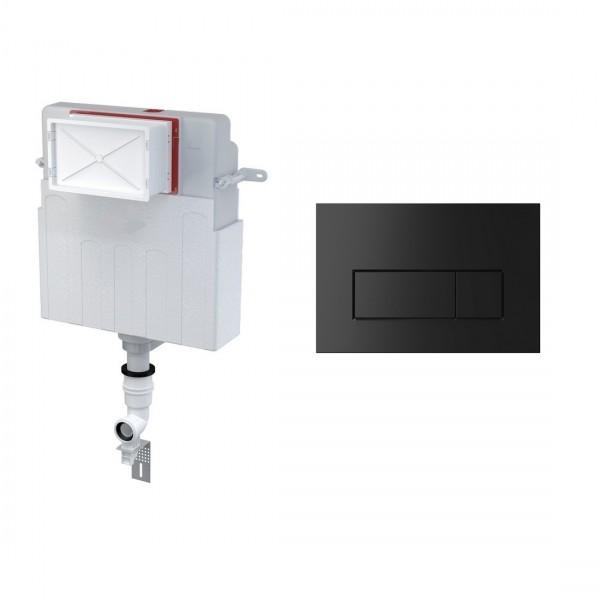 Комплект для инсталляции STURM AM, для напольного унитаза, скрытый бачок, креп. к стене, впускной патрубок, панель смыва (прямоугольные клавиши), черный матовый, AM-KIT-SQ112-BM