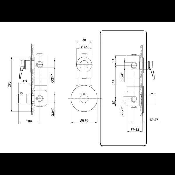 Fantini Встраиваемая часть термостата и 1 вентиля 17 00 A301A