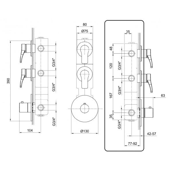 Fantini Встраиваемая часть термостата и 2 вентилей 17 00 A302A
