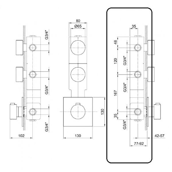 Fantini Встраиваемая часть термостата и 2 вентилей 17 00 A402A