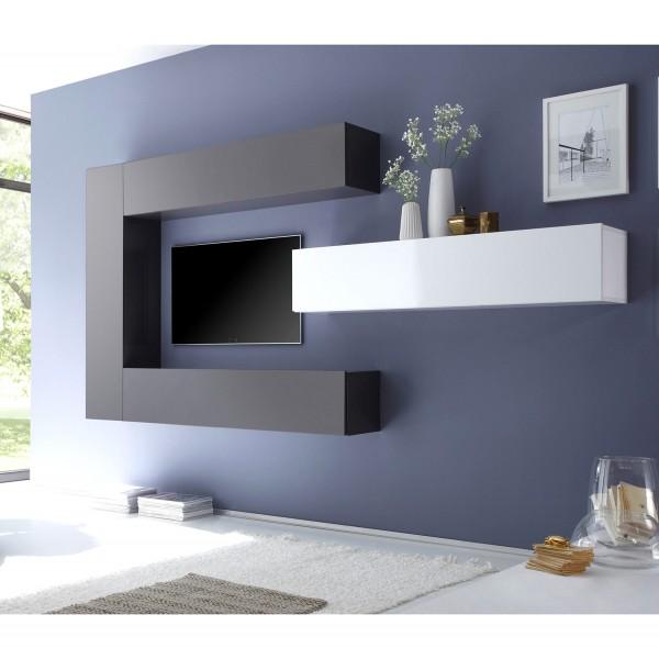 Шкаф подвесной с дверцей и с полками STURM Puzzle 290x310x1390, цвет антрацит глянцевый HPUZ2913