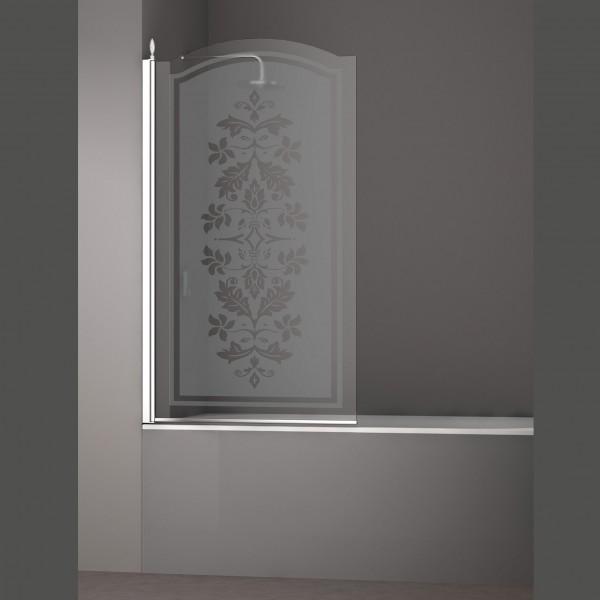 Шторка на ванну STURM Juwel Left 900x1500 стекла с декором. Хром LUX-JUWE09-LD1CR