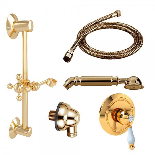 Комплект для душа STURM EM смеситель, встраиваемая часть, шланговое подсоединение, душевая штанга, ручной душ, шланг золото/белая керамика KIT-EMI-DO3011-GL