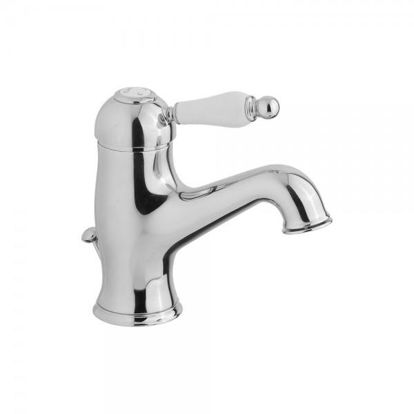 Смеситель для раковины STURM Emilia однорычажный с донным клапаном, хром/белая керамика LUX-EMI-20051-CR