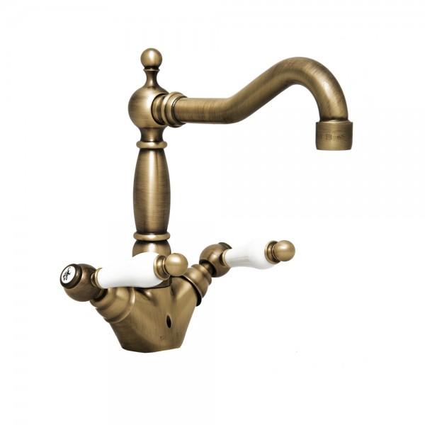 Смеситель для раковины STURM Emilia двухрычажный с донным клапаном, бронза/белая керамика LUX-EMI-30052-BR