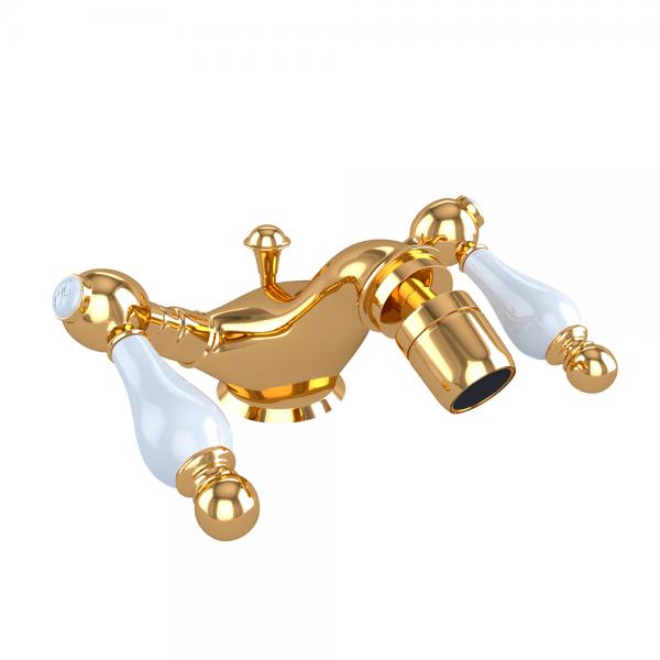 Смеситель для биде STURM Emilia двухрычажный с донным клапаном, золото/белая керамика LUX-EMI-30055-GL