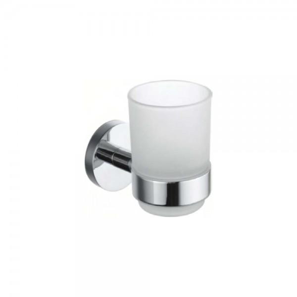 Стаканчик для зубных щёток STURM Round, матовое стекло, хром, LUX-RND110-CR