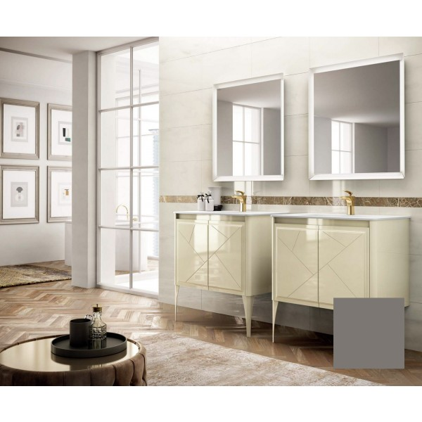 Комплект мебели STURM Bella 850*510*550 мм раковина с 1 отв. под смеситель - белый глянец, тумба с 2 распаш. фасадами, серый матовый ST-BELLA85G-GM