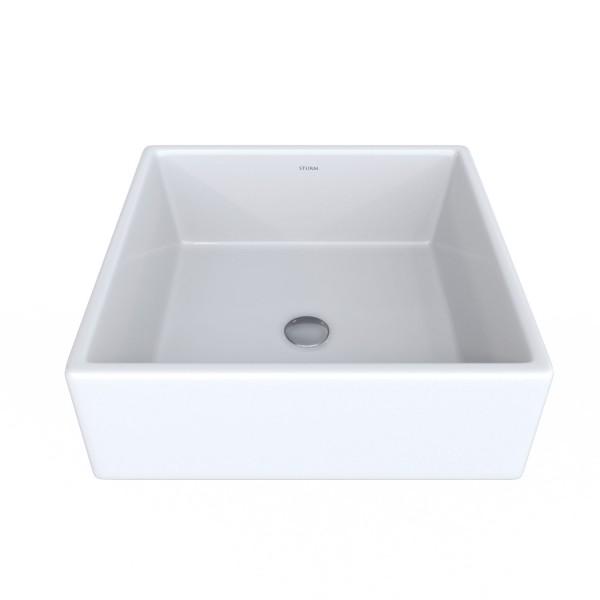 Раковина накладная STURM Conta, 27x27x14 см, квадратная, без отв. под смеситель, без перелива, белая, ST-CONTA272714-NBN