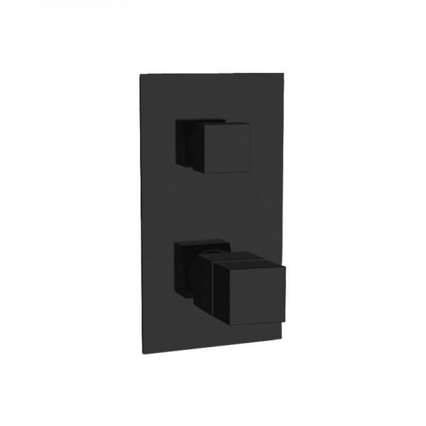 Термостат STURM Thermo Square встраиваемый на 2 потребителя (в комплекте встраиваемая часть), чёрный матовый ST-THERM612D2-BM