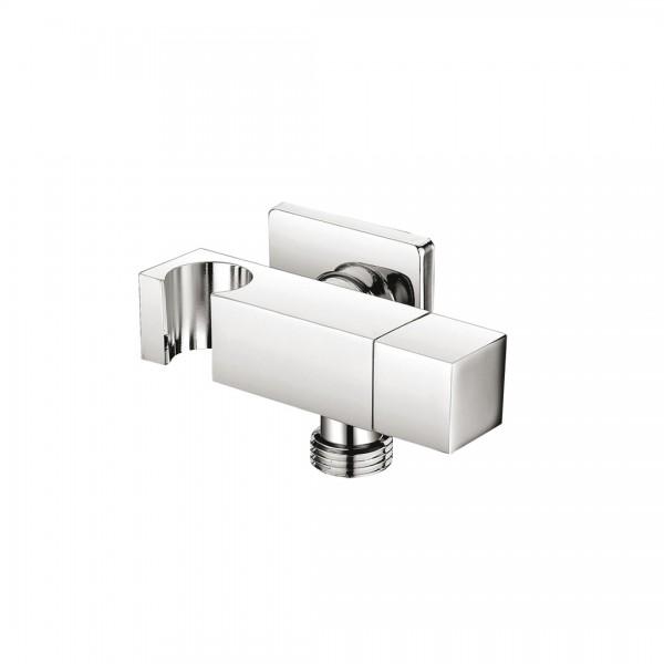 Запорный вентиль STURM Universal фланец 48x48 мм с держателем-подсоединением для ручного душа, хром ST-UN9257-CR