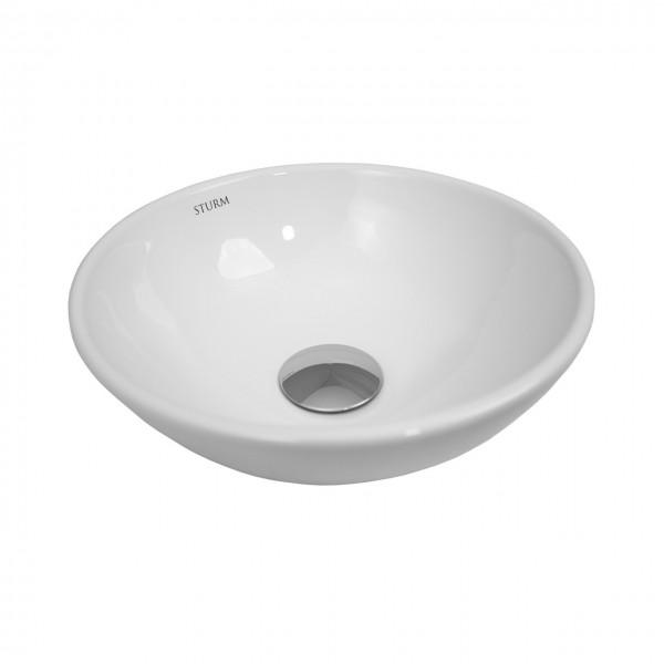Раковина накладная STURM Vita, D=28 см, круглая,  без отв. под смеситель, без перелива, белая, ST-VIW282810-NBN