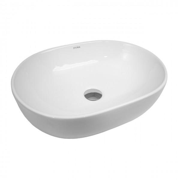 Раковина накладная STURM Vita, 48x35x14 см, овальная, без отв. под смеситель, без перелива, белая, ST-VIW483514-NBN