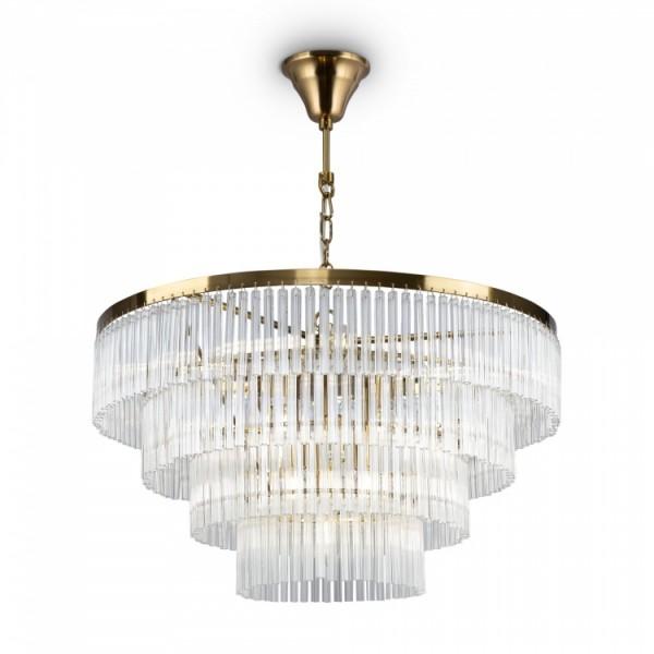 Светильник подвесной STURM Teseo, 59x54/131 см, 13*E14 40W max, латунь/прозрачный, STL-TES063893