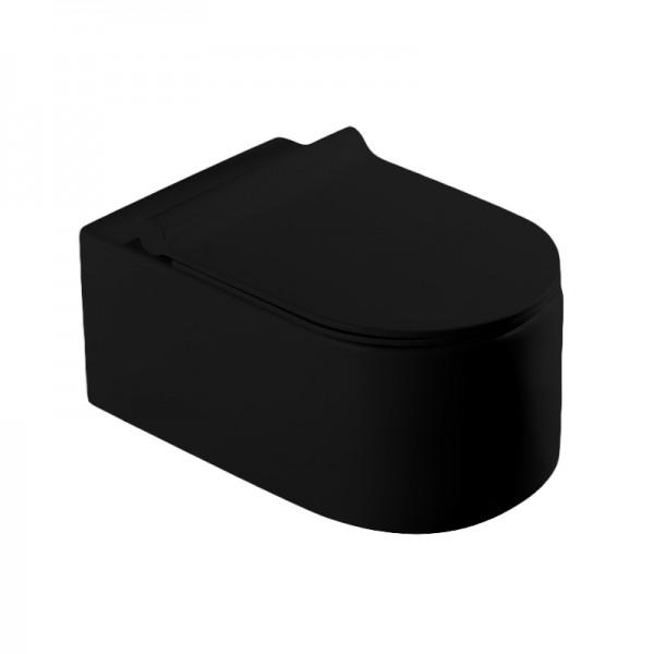 Унитаз подвесной STURM Mono New, безободковый, с сиденьем тонким с микролифтом, черный матовый, SW-MO14057-BM NEW
