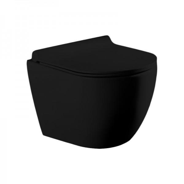 Унитаз подвесной STURM Neu New, 490x360x360 мм, безободковый, с сиденьем с микролифтом, черный матовый, SW-NE13057-BM NEW