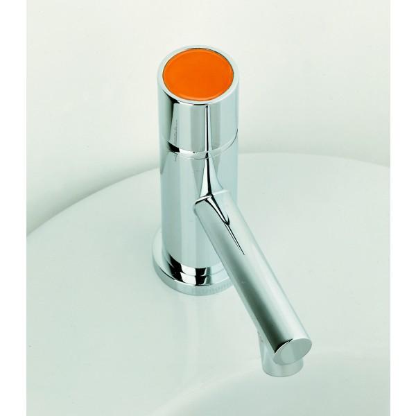 Смеситель для раковины Ritmonio Diametrotrentacinque без донного клапана, оранжевая вставка, хром E0IN0118CRL E036
