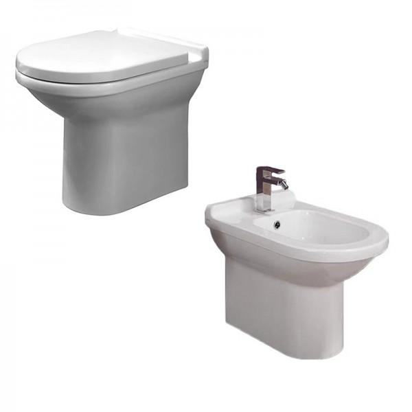Комплект AXA Due: биде приставное 57 см, унитаз приставной, горизонтальный выпуск, сиденье без микролифта, белый 1501101-AT1501-1502001
