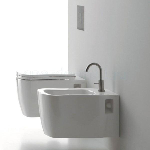 Комплект AXA Nutty: биде подвесное, унитаз подвесной, сиденье без микролифта, белый 1701001-AA1701-1702001