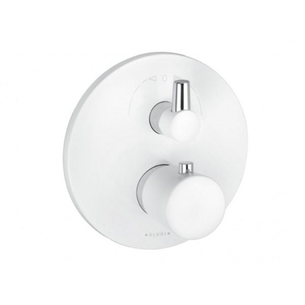 Термостат с запорным вентилем Kludi Balance и переключателем на 2 положения (внешняя часть), белый 52 830 91 75
