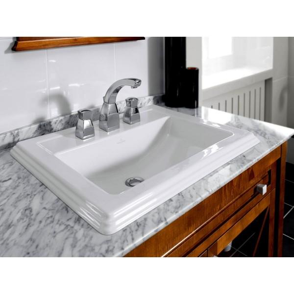 Раковина встраиваемая Villeroy & Boch Hommage 63х52.5 см с 3 отверстиями под смеситель, ярко-белый CeramicPlus 7102A1R2