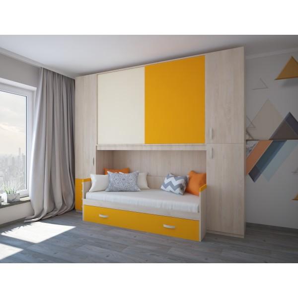 Комплект мебели для двух детей STURM Mickey, 300х92/58х259, береза-пудра-мандарин, XMICKE30021