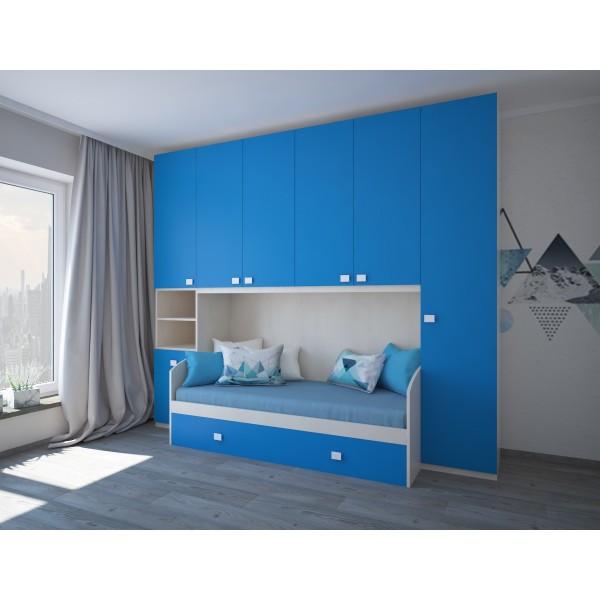 Комплект мебели для двух детей STURM Winnie, 300х92/58х259, береза-небесный, XWINNI30022