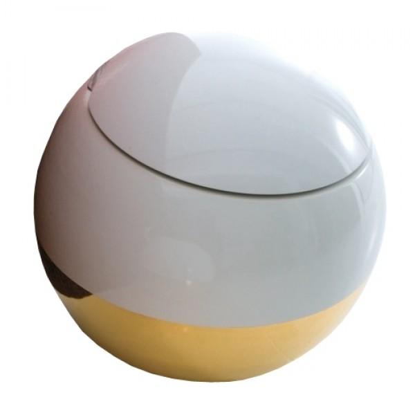 Унитаз приставной Disegno Ceramica Sfera, в комплекте с сиденьем с микролифтом, белый/золотой 550-B-P B5 + 552-F B