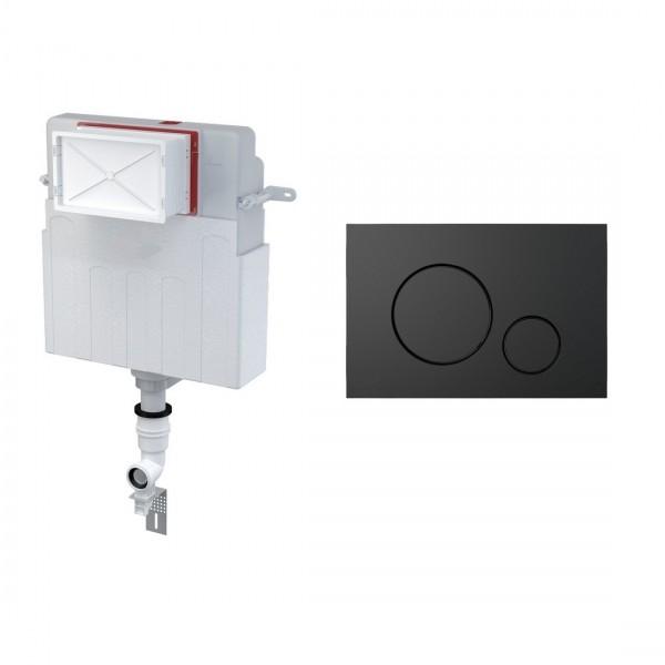 Комплект для инсталляции STURM AM,  для напольного унитаза, скрытый бачок, креп. к стене, впускной патрубок, панель смыва (круглые клавиши), черный матовый, AM-KIT-RO112-BM