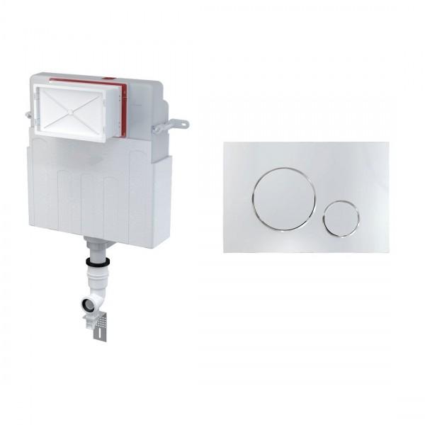 Комплект для инсталляции STURM AM,  для напольного унитаза, скрытый бачок, креп. к стене, впускной патрубок, панель смыва (круглые клавиши), хром, AM-KIT-RO112-CR
