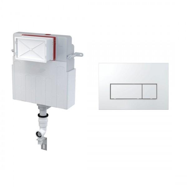 Комплект для инсталляции STURM AM, для напольного унитаза, скрытый бачок, креп. к стене, впускной патрубок, панель смыва (прямоугольные клавиши), хром, AM-KIT-SQ112-CR