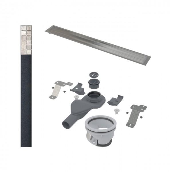 Комплект: Дренажный канал STURM AP, 101 см, с низким сифоном (54 мм - 40 л/мин), ножками, комбинированным гидрозатвором, решёткой 95 см, для укладки плитки, AP-KIT-54INS95-WF