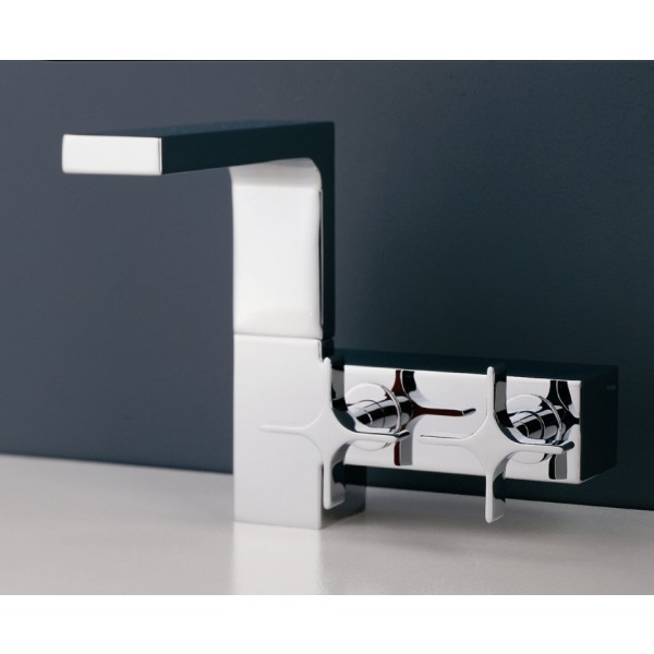 Смеситель для раковины Ritmonio Waterblade дизайнерский с двумя вентилями, донный клапан, хром H0BA1010CRL