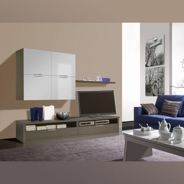 Комплект мебели для гостиной STURM Splash 2472х476/345х1950, цвет серая лиственница - белый глянцевый BSPL24702