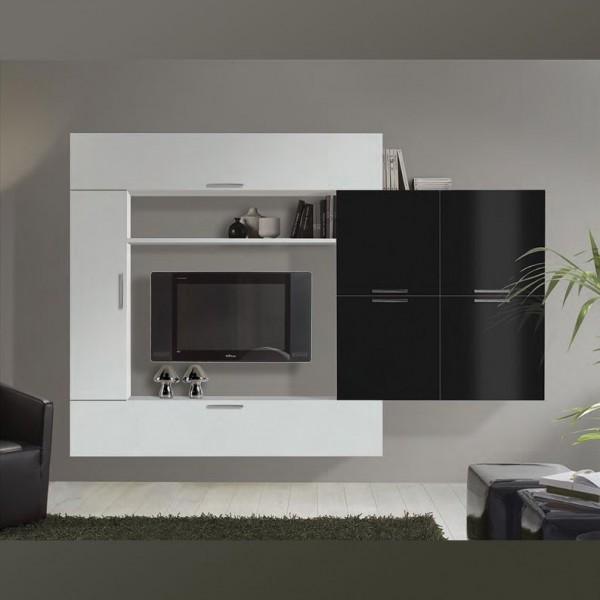 Комплект мебели для гостиной STURM Stern 2720х345х1840 цвет белый глянцевый - черный глянцевый BSTE27201