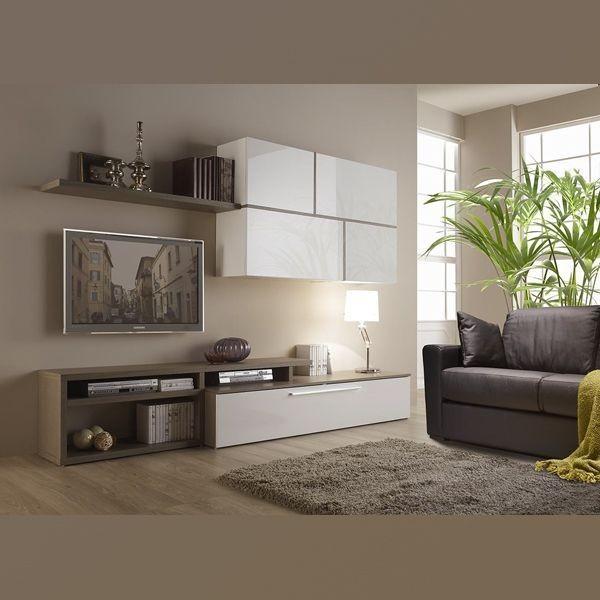 Комплект мебели для гостиной STURM Space 2700х476х1950, цвет серая лиственница - белый глянцевый BSPA27002