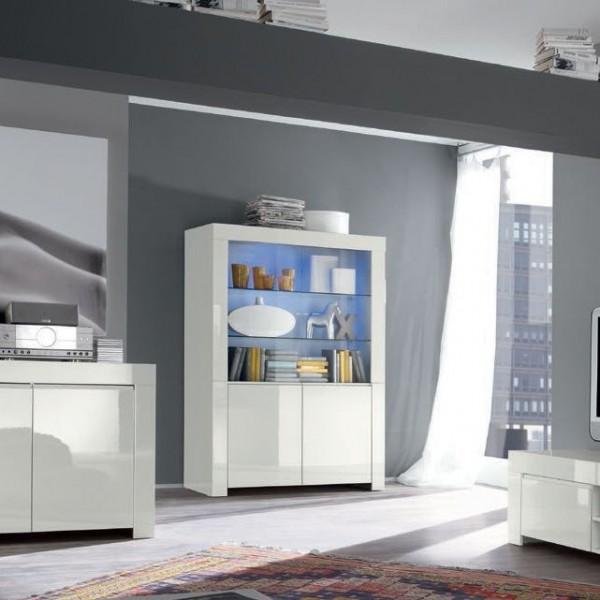 Сервант стеклянный STURM Life 1230x500x1700, цвет белый глянцевый CLIF12302