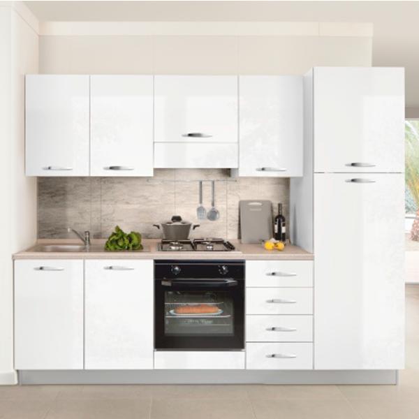 Кухонный комплект STURM Eva из 7 предметов, 255x60x216, правый разворот, глянцевый белый, AEVA25502DX