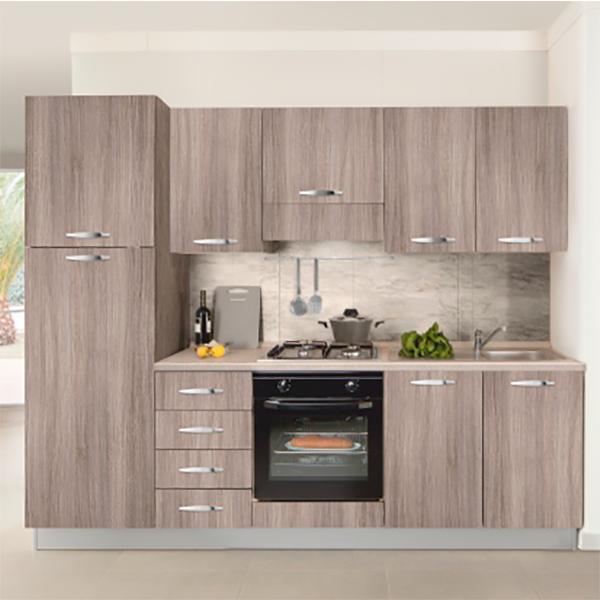 Кухонный комплект STURM Eva из 7 предметов, 255x60x216, левый разворот, цвет дуб, AEVA25505SX