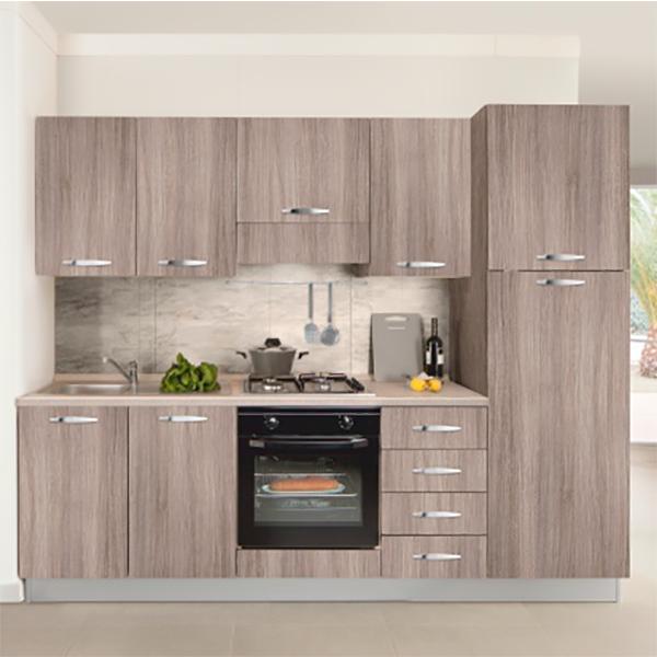 Кухонный комплект STURM Eva из 7 предметов, 255x60x216, правый разворот, цвет дуб, AEVA25505DX