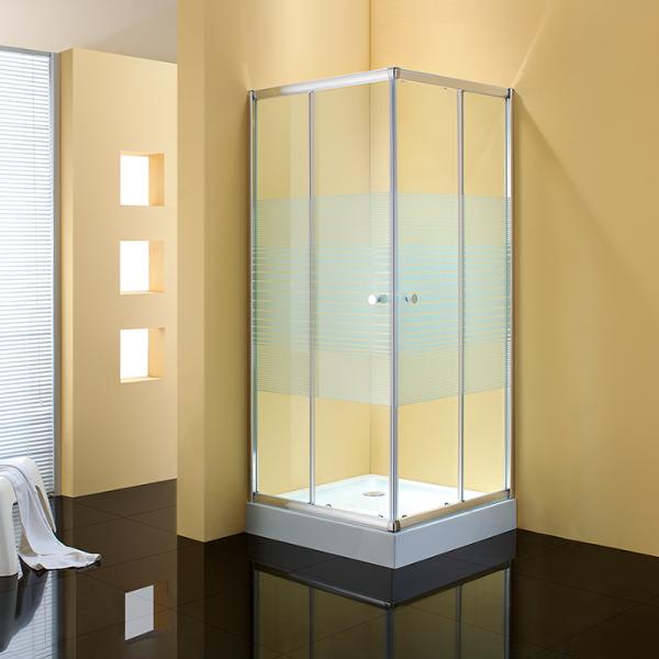 Душевое ограждение STURM Joy 1000х1000х1900 стекла с белыми полосками. Хром ST-JOY1010-NWSCR