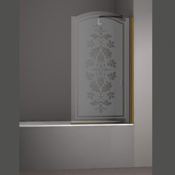 Шторка на ванну STURM Juwel Right 900x1500 стекла с декором. Бронза LUX-JUWE09-RD1BR