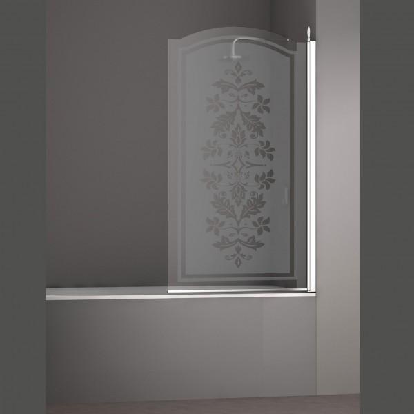 Шторка на ванну STURM Juwel Right 900x1500 стекла с декором. Хром LUX-JUWE09-RD1CR